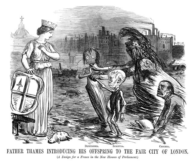 A cartoon from humour mag Punch depicting the Thames, the source of the stinky air. Source.